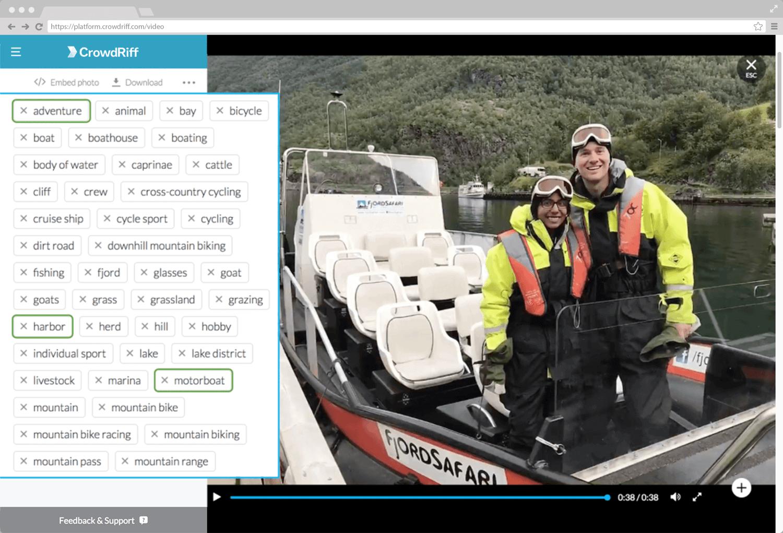 Screenshot of CrowdRiff platform showcasing image auto tagging